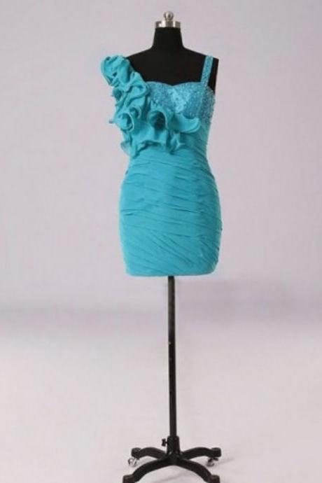 Short Pleated Bodycon Dress Featuring Ruffle Details and Beaded Bodice