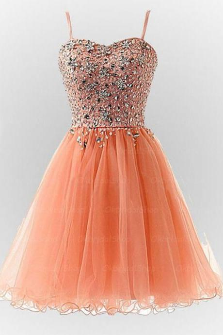 Spaghetti Strap Sweetheart Short Tulle Homecoming Party Dress with Jeweled Bodice
