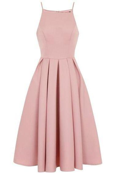 Sweet Sixteen Dress Dresses Pink Ruched Tea-length Spaghetti Straps Aline Spaghetti Strap