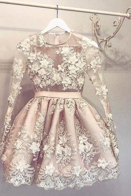 Sweet Sixteen Dresses Dresses Champagne Appliqued Short O-neck A lines Zipper-Up Long Sleeve