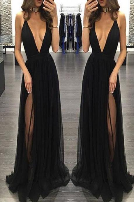 Sweet 16 Dresses Dresses Black Split Front Floor Length Deep V Neck split Open Back Sleeveless