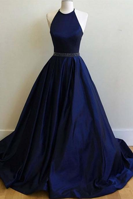 Sweet 16 Dress Dresses Dark Blue Sequined Floor Length Haltered Ball-Gown Sleeveless