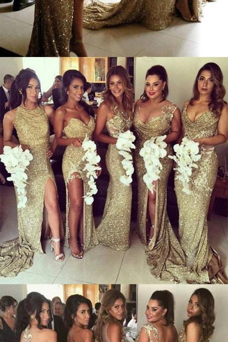 Bridesmaid Dresses Golden Split Front Court O-neck Trumpet Sheer Back Sleeveless