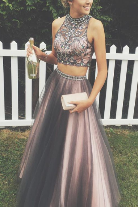 Prom Dresses Short Description Dresses Chocolate Tulle Floor Length High Collar A Line Sleeveless